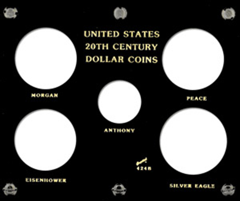 US 20th Century Dollar Capital Plastics Coin Holder Black 5x6 US 20th Century Dollar Capital Plastics Coin Holder Black, Capital, 424B
