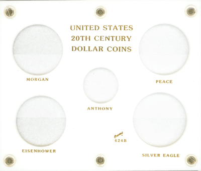 US 20th Century Dollar Capital Plastics Coin Holder White 5x6 US 20th Century Dollar Capital Plastics Coin Holder White, Capital, 424B