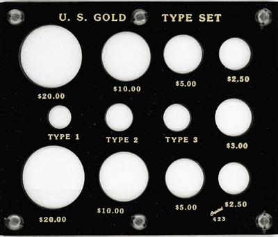 Gold Type Set Lib. 20, 10, 5, 3, 2.50, Type I,II,III 5x6 Gold Type Set Lib. 20, 10, 5, 3, 2.50, Type I,II,III, Capital, 423