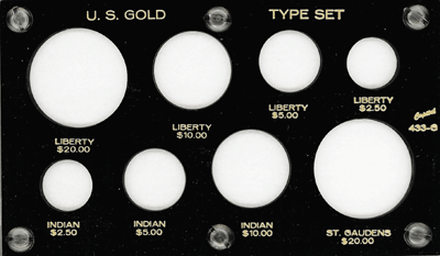 Gold Type Set Lib. 20, 10, 5, 2.50 3.5x6 Gold Type Set Lib. 20, 10, 5, 2.50, Capital, 433G