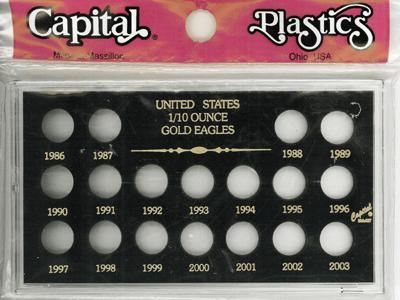 U.S. 1/10 Ounce Gold Eagles 1986-2003 Meteor U.S. 1/10 Ounce Gold Eagles 1986-2003, Capital, MA437