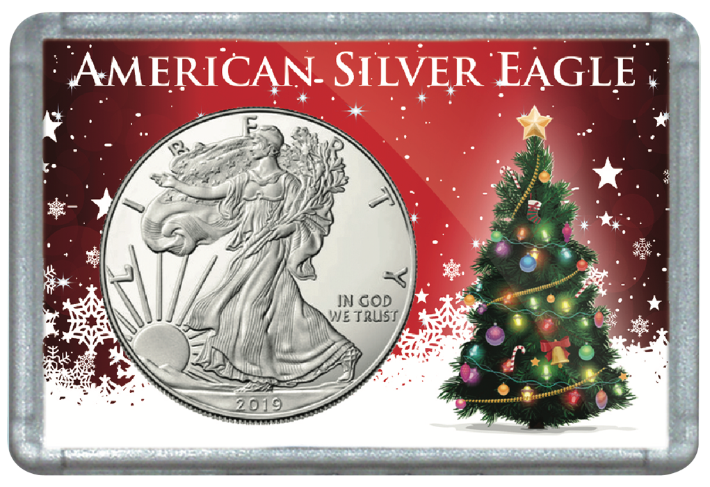 Christmas Tree Frosty Case for American Silver Eagle