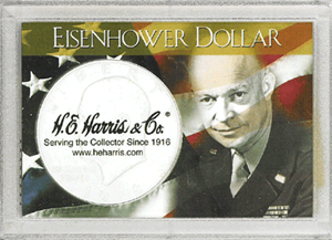 Eisenhower Dollar HE Harris 2x3 Frosty Case 2x3 Eisenhower Dollar HE Harris 2x3 Frosty Case, HE Harris & Co, 1665