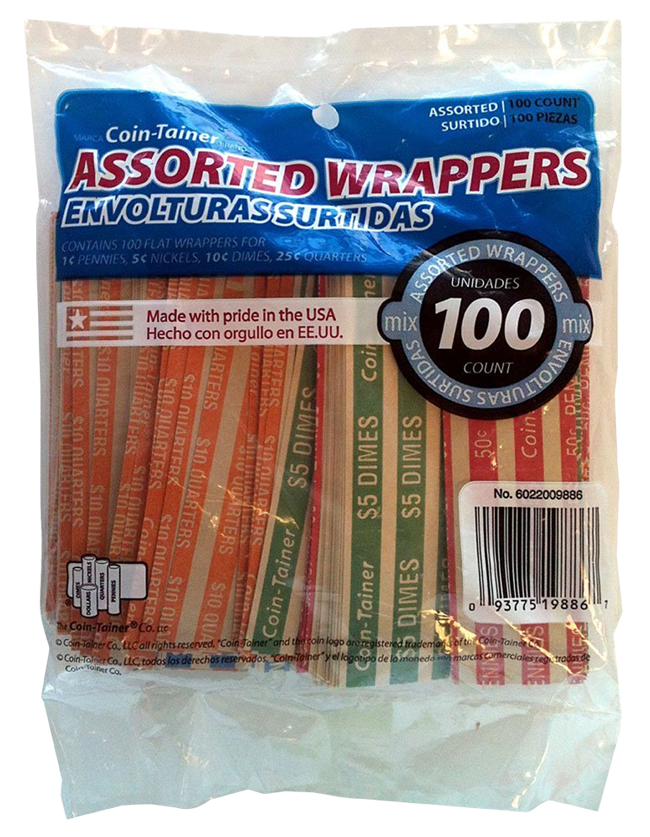 100 Mixed Flat Coin Wrappers 100 Mixed Flat Coin Wrappers, 60220