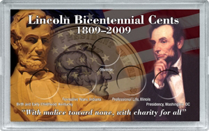 Lincoln Bicentennial HE Harris 3x5 Frosty Case