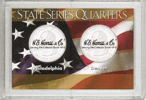 State Quarters Frosty Case ( 2 Quarter ) - American Flag
