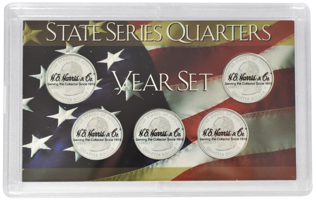 State Quarter Year Set Frosty Case ( 5 Quarter ) - American Flag
