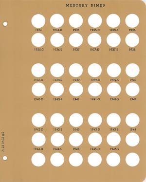 Dansco Mercury Dimes - Coin Album Replacement Page 2 (2-7123) Mercury Dimes Dansco Coin Album Replacement Page 2, Dansco, 7123.2