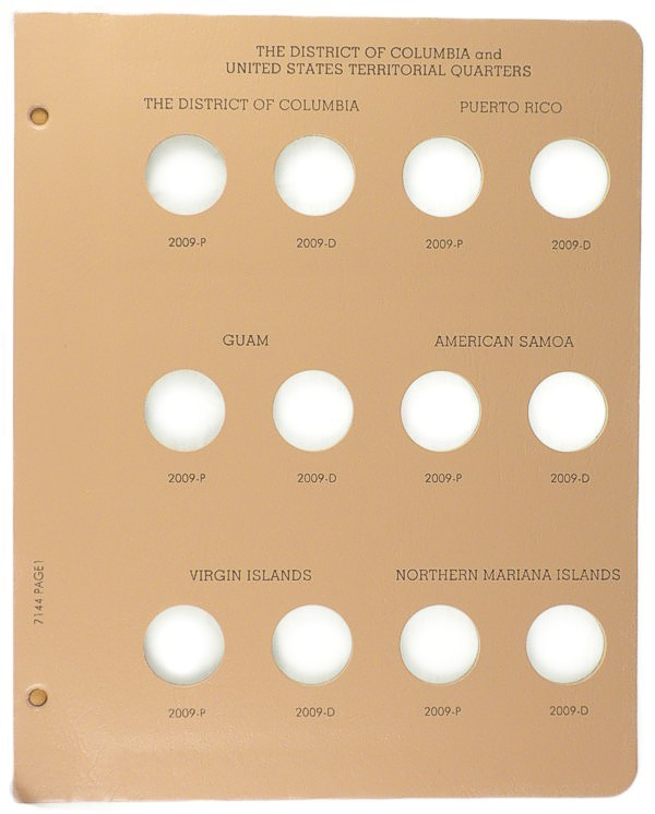 Dansco State Quarter 2009 P&D, D.C. and Territories - Coin Album Replacement Page (1-7144)