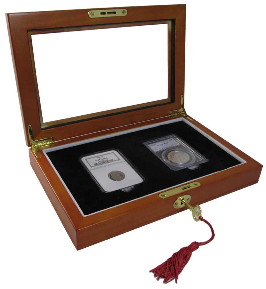 Two Slab Glass Top Wood Coin Display Box with Key and Latch