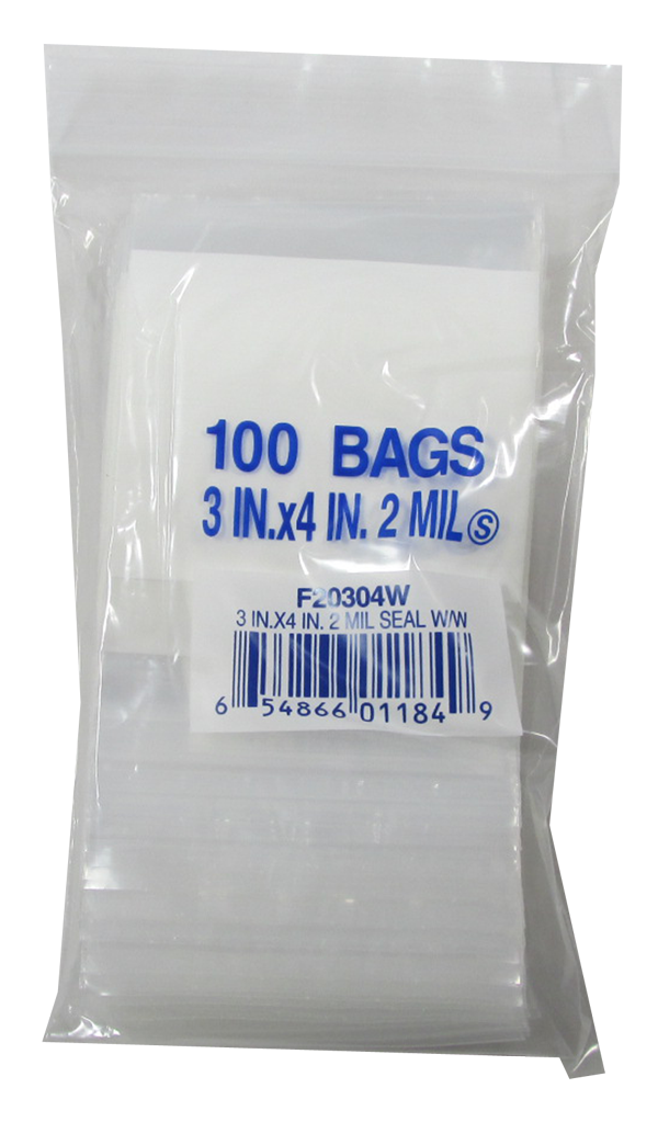 Zip Lock Bag - Write On - 3x4