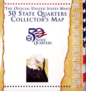 Official United States Mint 50 State Quarters Collector's Map on