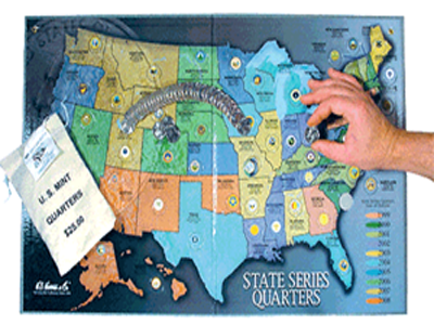 Collectors Map for Statehood Quarters 1999 - 2009