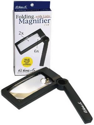2X 6X Illuminated Folding Magnifier 2X 6X Illuminated Folding Magnifier HE Harris, HE Harris & Co, 90922131