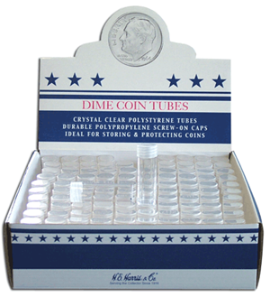 HE Harris & Co Dime Round Coin Tube - Individual