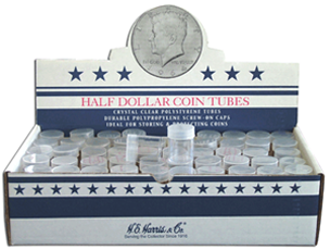 Round Coin Tubes Half-Dollar Size Individual Tubes