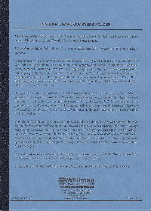Whitman National Park Quarters P&D Deluxe Folder - 16233