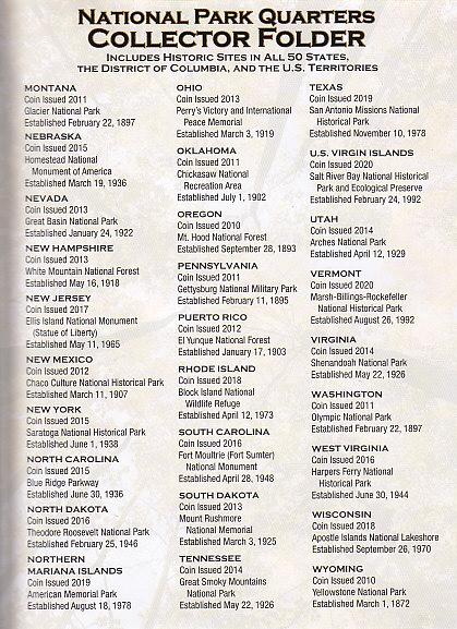 Whitman National Parks Quarter Folder 2010 - 2021 - 16228