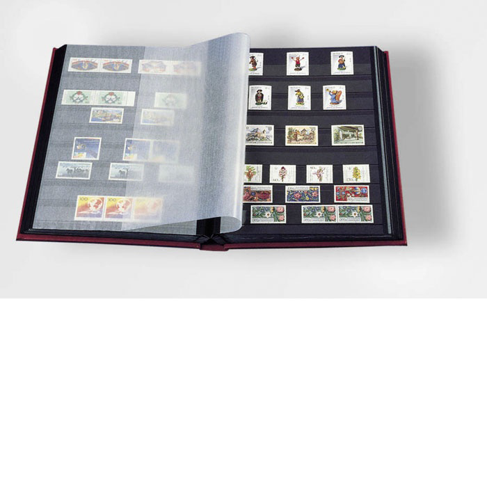 Lighthouse Stamp Stock Book Red Cover and 32 Black Pages