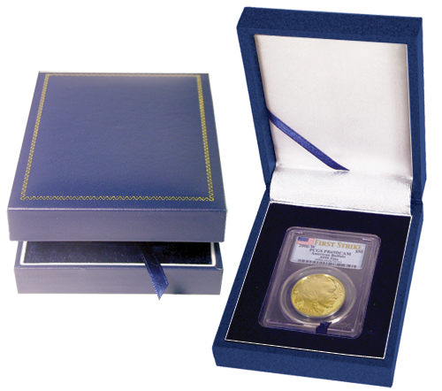 Guardhouse Display Box for 1 Slab - Blue Leatherette