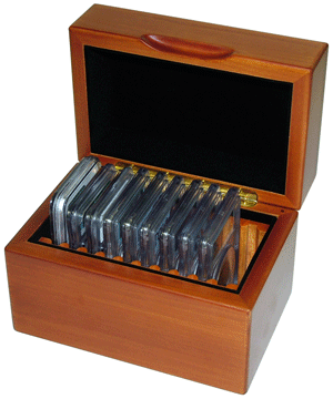 GuardHouse Wood Slab Box - Holds 10 Certified Coins GuardHouse, Wood, Certified coin, Coin Display Box, 10 Slab, GH-SLAB-W10