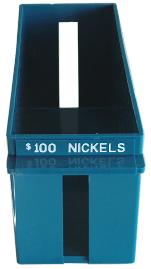 Nickel Large Quantity Rolled Coin Tray Plastic Blue Nickel Nickel Large Quantity Rolled Coin Tray Plastic Blue, MMF, 212070508