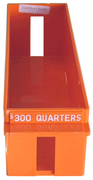 Quarter Large Quantity Rolled Coin Tray Plastic Orange Quarter Quarter Large Quantity Rolled Coin Tray Plastic Orange, MMF, 212072516