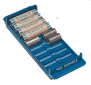 Extra Capacity Coin Roll Tray for Nickels - Blue