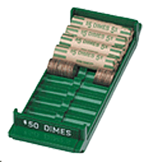 Extra Capacity Coin Roll Tray for Dimes - Green
