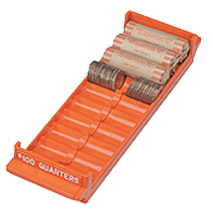 Extra Capacity Coin Roll Tray for Quarters - Orange