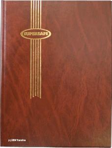 Supersafe Stamp Stockbook - 16 Black Pages Brown Cover