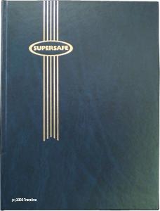 Supersafe Stamp Stockbook - 64 Black Pages Padded Blue Cover