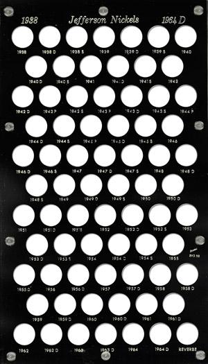 Jefferson Nickels 1938 Capital Plastics Coin Holder Black 8x14 Jefferson Nickels 1938 Capital Plastics Coin Holder Black, Capital, BVD5B