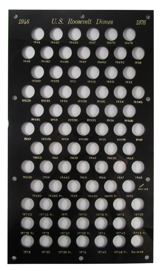 Roosevelt Dimes 1946 Capital Plastics Coin Holder Black 8x14 Roosevelt Dimes 1946 Capital Plastics Coin Holder Black, Capital, BVD10B