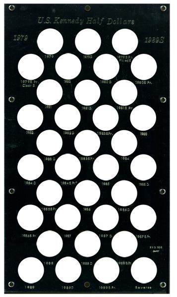Kennedy Half Dollars Holder 1978-89 8x14 Kennedy Half Dollars, Capital Plastics Coin Holder, BVD50G