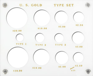 Gold Type Set Lib. 20, 10, 5, 3, 2.50, Type I,II,III 5x6 Gold Type Set Lib. 20, 10, 5, 3, 2.50, Type I,II,III, Capital, 423