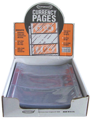 Supersafe 3 Pocket Currency Pages Box - 100 Supersafe NV3 Large 3 Pocket Currency Pages 100 pack, Supersafe, NV3