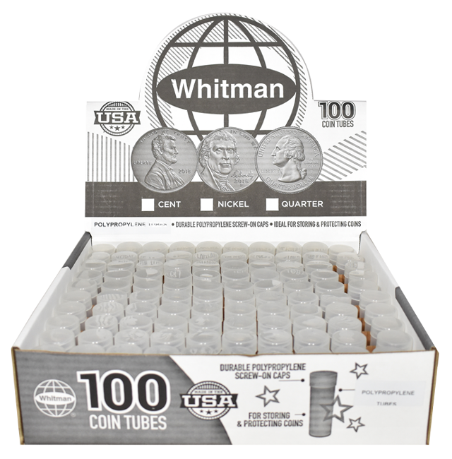 Whitman Round Coin Tubes | 100 Packs coin tube, he harris, whitman, round