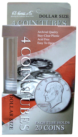 HE Harris & Co Large Dollar Round Coin Tubes - 4 Pack