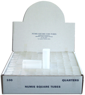 Quarter Square Coin Tube Numis 100 Pack
