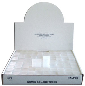Half Dollar Square Coin Tube Numis 100 Pack Half - 5960