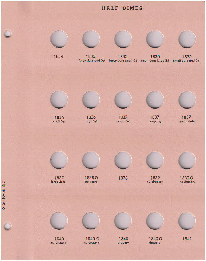 Dansco Replacement Page Number 5 For Album 6120 US Half Dimes 1860-O to 1871-S