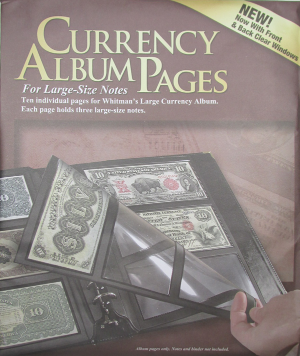 Refill Pages for Whitman Premium Currency Album - Large Notes - Clear View