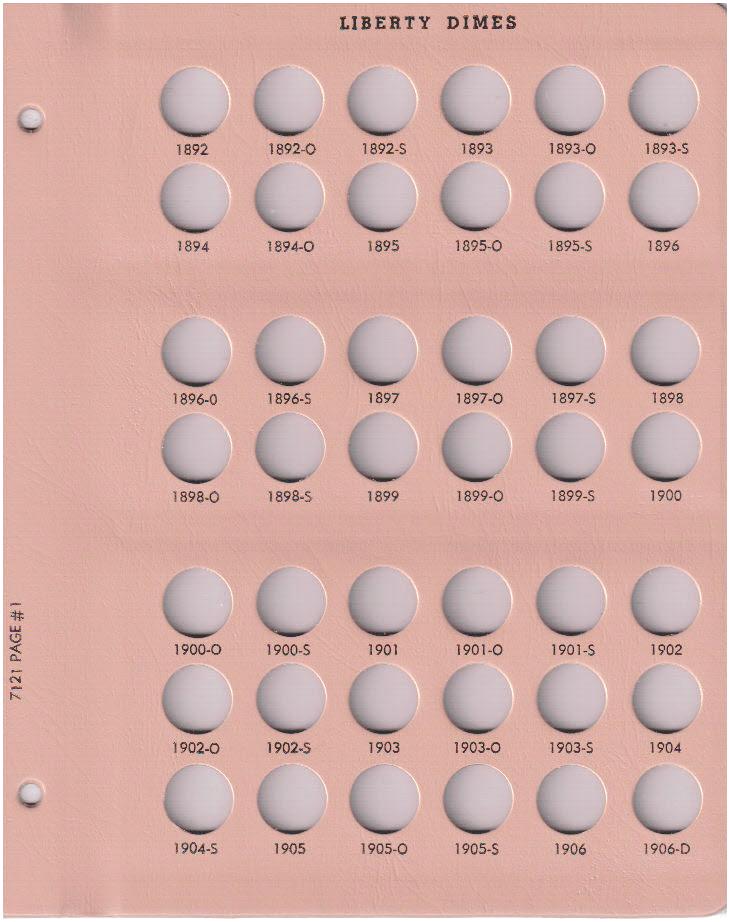 Liberty Dimes - Dansco Coin Album 7121 - 23048