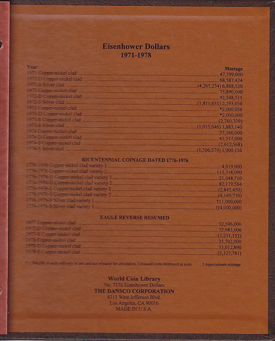 Eisenhower Dollars - Dansco Coin Album 7176 - 23632