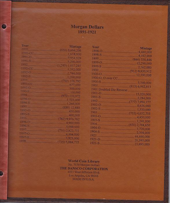 Morgan Dollars - Dansco Coin Album 7179 - 23616