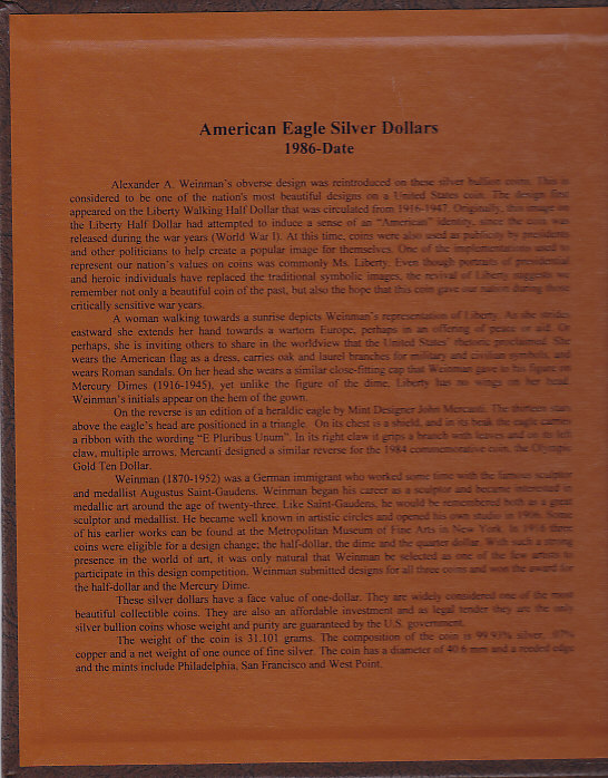 American Silver Eagles Dollars - Dansco Coin Album 7181 - 23712