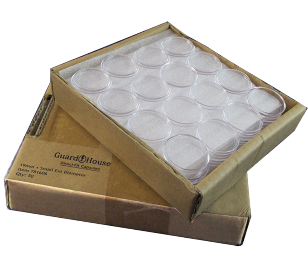 Guardhouse Quarter Coin Capsules - 50 Piece Pack quarter coin capsule, quarter coin holder, washington coin capsule