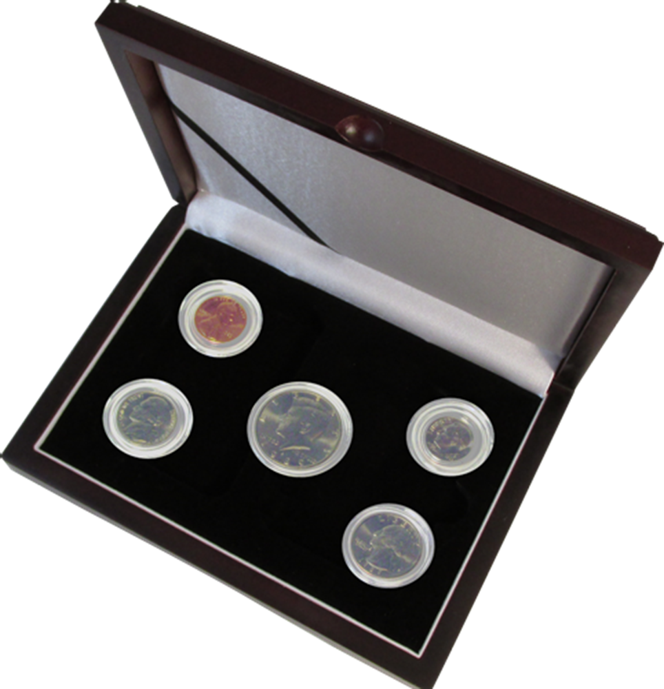Guardhouse Wood Display Box for 5 Coin Capsules (4S,M)  Proof or Mint Set - Cent through Half Dollar Guardhouse, Wood Display Box - Direct Fit, Mint or Proof Set, (Cent through Half Dollar), GH-W1300: (4S,M)