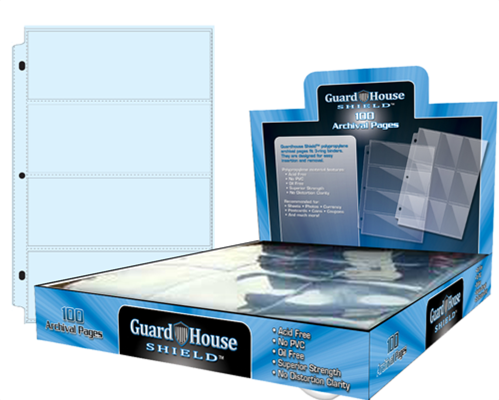 Guardhouse 4 Pocket Archival Polypropylene Pages - 100 Pack Guardhouse, 4 Pocket, Archival Polypropylene Pages, 100 Pack, 13964032147